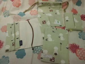 巾着(小)、ティッシュケース、文庫本カバー