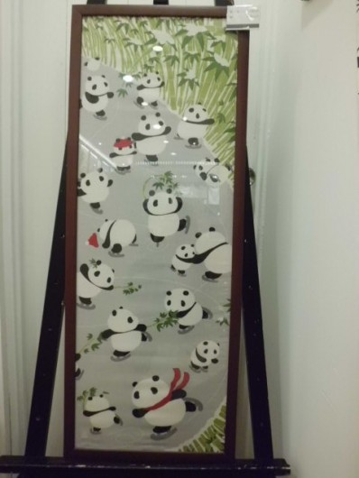 絵てぬぐい パンダのスケート場