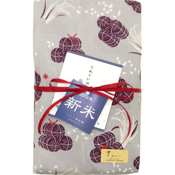 てぬぐい 稲穂と米俵&濱文様のお米 つや姫2kg