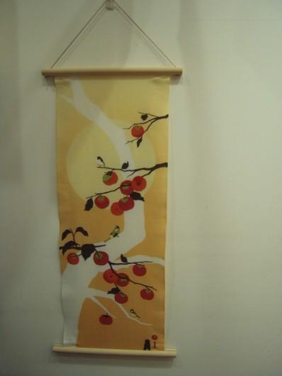 木製てぬぐい棒 柿の木と小鳥
