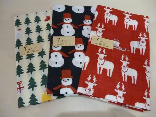 濱文様 てぬぐい 森のクリスマス 雪だるまⅡ 赤い鼻のトナカイ